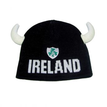 Black Ireland Knit Hat with Horns