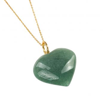 Aventurine Heart Crystal Pendant with Gold Chain