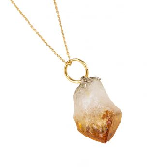 Citrine Crystal Pendant with Gold Chain