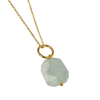 Topaz Crystal Pendant with Gold Chain
