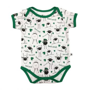 White/Emerald Aop Sheep Baby Vest