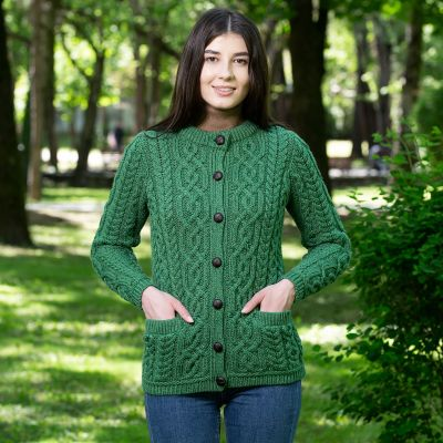 Ladies Leather-Buttons Cardigan